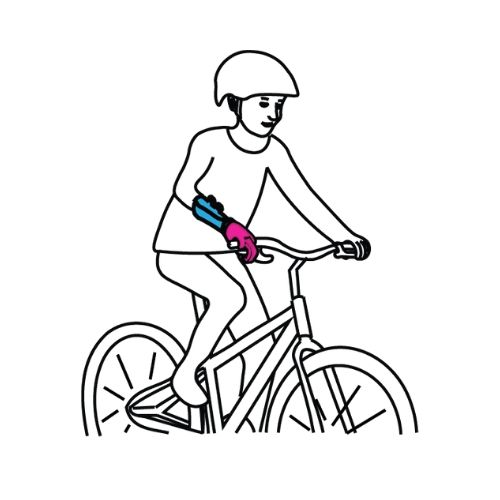 step 4: ride a bicycle with the new prosthetic shaft